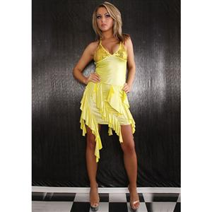 Sequin Top Ruffle Dress, Sequin Top Ruffle Dress Yellow, Yellow Ruffle Dress, #N6188