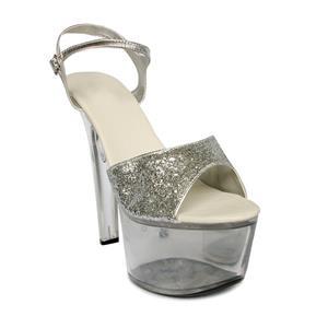 Clear Platform Sandals, Silvery Sequins Stiletto Sandals, Nightclub High Heel Sandals, #SWS20068