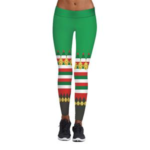 Sexy Leggings, Christmas Leggings, Digital Print Skinny Leggings, Printed Yoga Pants,  Ankle Length Christmas Legging, Ugly Santa Christmas Leggings, #L15099