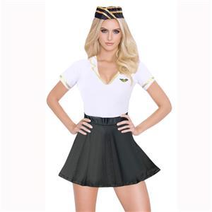 Flight Stewardess Costume, Sexy Airline Stewardess Costume, Airline Stewardess Costume Lingerie, Black and White Airline Stewardess Costume, #N15313
