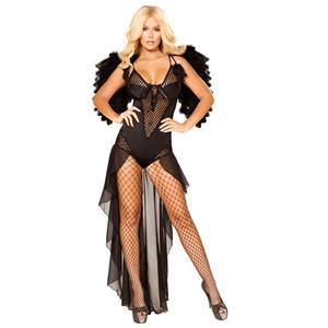 Fallen Dark Angel Cosplay Costume, Sexy Clubwear Stripper Striptease Bodysuit for Women, Sexy See-through Fishnet Lingerie, Cheap Romper Lingerie for Women, Sexy Secret Valentines Lingerie, Sexy Stretchy Bodysuit Lingerie, Sexy Dark Angel Cosplay Costume, #N19265