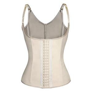 Steel Bone Vest Corset, Latex Underbust Corset, Apricot Underbust Corset, Women