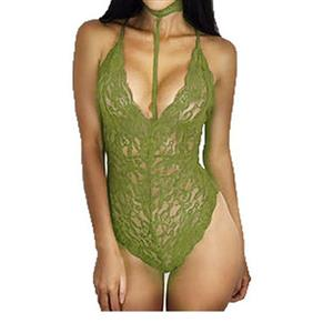 Sleepwear Bodysuit for Women, Sexy Bodysuit Teddy Lingerie Army-Green, Cheap Lace Babysuit Lingerie, Floral Lace Babysuit Lingerie, Army-Green Teddy Lingerie for women, Halter Deep V Teddy Lingerie, #N16574