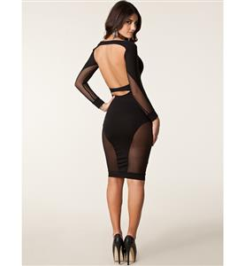 Long Sleeve Slim Knee Length Dress, Black Contrast Mesh Yoke Backless Dress, Open Back Mesh Evening Midi Dress, #N8911