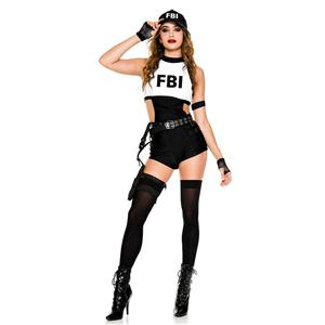 Sexy Black And White One-piece Bodysuit FBI Uniform Halloween Cosplay Costume N20993