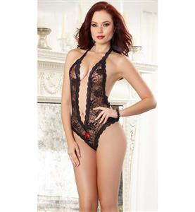 Sexy Black Lace Super Deep-v Neck Back Cut Out Heart Teddy Lingerie N10206