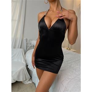 Spaghetti Straps Black Bodycon Dress, Clubwear Sleeveless Bodycon Dresses, Fashion Black Mini Dress, Cheap Lingerie Mini Dress, Sexy Black Mini Dress, Sexy Slip Dress, Bodycon Dress, Sexy Tube Dress, #N21550