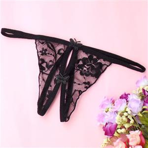 Sexy Black Panty, Sexy Night Club Panty for Women, Black Crotchless Thong, Low Waist Mesh Panty, Sexy Crotchless Lace Panty, #PT17407