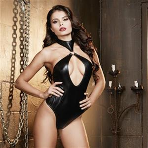 Sexy Slave Faux Leather Halter Cut-out Bodysuit Teddy Lingerie Romper N11705