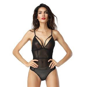 Sleepwear for Women, Sexy Bodysuit, Cheap Romper Lingerie, Strappy Mesh Lingerie, Black Teddy lingerie for women, Teddy Lingerie Cutout,  #N14488