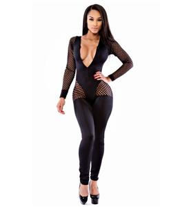Sexy Black Deep-v Neck Hollow Out Bandage Jumpsuits N10504