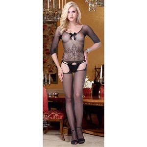 Sexy Elbow Sleeves Bodystocking, Black Floral Print Bodystocking, Cheap Black Bodystocking, #BS10670