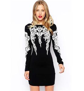 Fashion White Embossing Tops, Black Knee-length Dress, Long Sleeves Dress, Cheap Back Low-V Tops Dress, #N9748