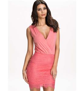 Night Club Party Dress, Cheap Clubwear Dress, Fashion Pink Lace Dress, Hot Sale Sleeveless Dress, Elegant Lady Dress, #N10853