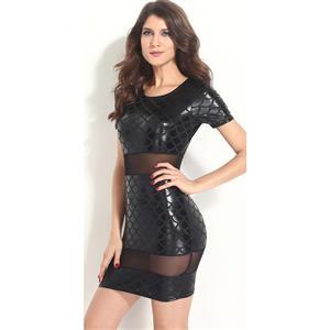 Sexy Black Dress, Fish Scale Pattern Dress, Cheap Bodycon Dress, Lady See-Through Dress. Mini Dress, #N10029