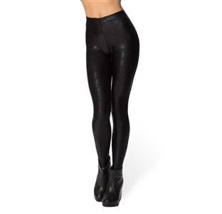 Sexy Black Fish Scale Pattern Low Waist Leggings L11660