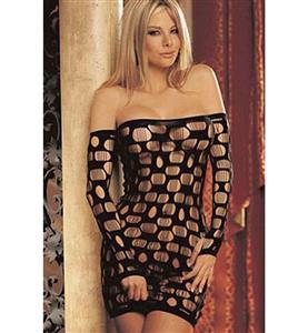 Sexy Black Fishnet Chemise Mini Dress N11247