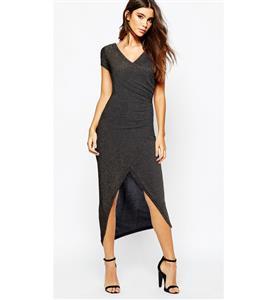 Sexy Summer Dress, Club Party Dress, Black-Gold Long Dress, Women