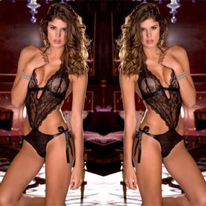 Sleepwear Bodysuit for Women, Sexy Bodysuit Teddy Lingerie Black, Cheap Lace Babysuit Lingerie, Floral Lace Babysuit Lingerie, Black Teddy Lingerie for women, Halter Teddy Lingerie Cutout, #N16550