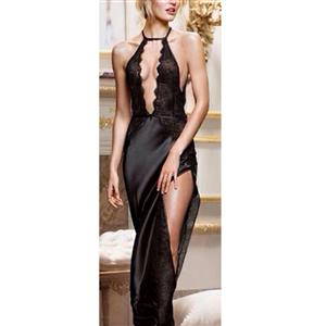 Sexy Lace Long Gown, Cheap Black Clubwear Long Dress, Women