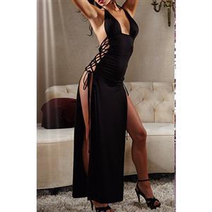 Sexy Side Lace-up Long Gown, Cheap Black Clubwear Long Dress. Women