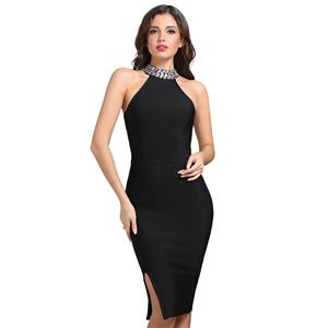 Sexy Dress for Women, Fashion Mdi Dresses, Bodycon Party Dress, Bodycon Bandage Dress, Sleeveless Halter Dresses, Black Bodycon Bandage Dress, #N15232