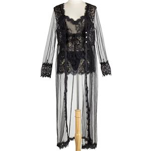 Sexy Lace Lingerie Night Dressing Robe , Valentine