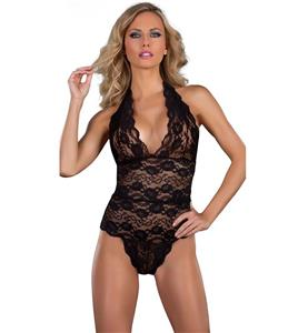 Sexy Black Lace Halter Deep-v Neck Teddy Lingerie N10203