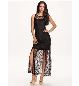 Split Black High Waist Dress, Elegant Sleeveless Lace Dress, Knit Split Joint Lace Casual Dress, #N9299