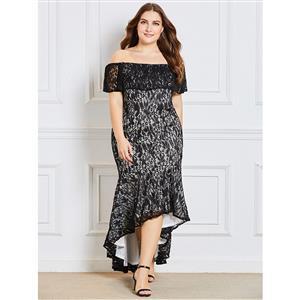Black Lace Dress Plus Size, Off Shoulder Dress, Irregular Hem Dress, Plus Size Dress for Women, Short Sleeve Dress Plus Size, Sexy Party Dress for Women, #N15350