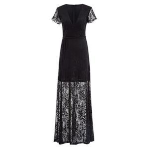 Short Sleeve Deep V Neck Evening Gowns, Sexy Black Lace Maxi Evening Dress, A-Line Long Evening Dress with Belt, Women