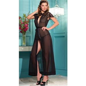 Sexy Black Lace Sleeves Long Chiffon Robe N10368