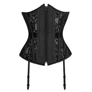 Sexy Black Lace Underbust Corsets, Zipper Closure Underbust Corset, Black Lace Waist Training Underbust Corset, Waist Trainer, Underbust Body Shaper, #N18603