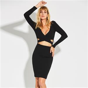 Black Long Sleeve Dress, Sexy Deep V Neck Dress, Black Cut Out Bodycon Dress, Women