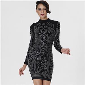 Black Dress For Women, Sexy Dresses For Women, Fashion Mini Dresses, Mini Party Dress, Black Rhinestone Dress, Long Sleeve Mini Dresses, #N15226