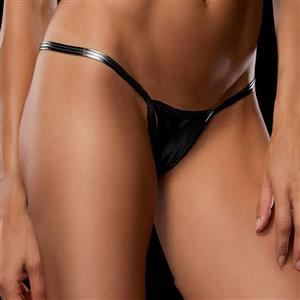 Sexy Black Faux Leather Thong, Sexy Night Club G-string for Women, Black Leather Night Club Thong, Low Waist Leather G-string, Sexy Low Waist Night Club Thong, #PT16584