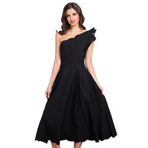Sexy Dress for Women, Fashion Midi Dresses, Swing Party Dress, Oblique Neck Swing Dress, One Shoulder Dresses, Black Midi Party Dress, #N15246