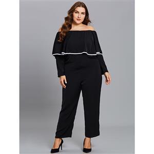 Long Sleeve Black Jumpsuit, Sexy Jumpsuit for Women, Full Length Jumpsuit, Plus Size Jumpsuit for Women, Off Shoulder Black Jumpsuit, #N15537
