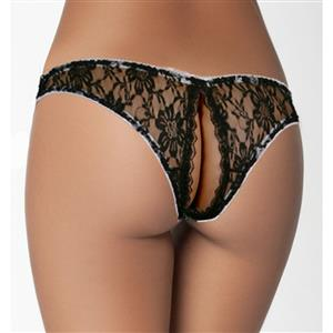 Sexy Black Thong, Sexy Lace Panty for Women, Black Lace Thong Lingerie, Black Crotchless Lace Panty, Sexy Open Crotch Thong, Sexy Black Lace Panty, #PT17557