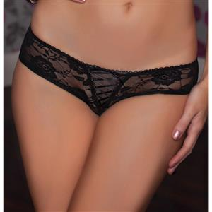 Sexy Black Thong, Sexy Lace Panty for Women, Black Lace-up Lace Thong, Black Crotchless Lace Panty, Sexy Open Crotch Plus Size Thong, Sexy Black Lace Panty, #PT17527