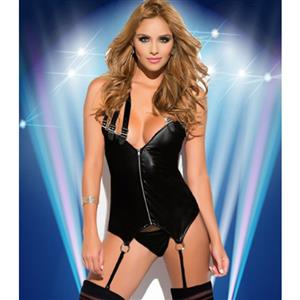 Sexy Black PU Leather Front Zipper Bustier Sets N15930