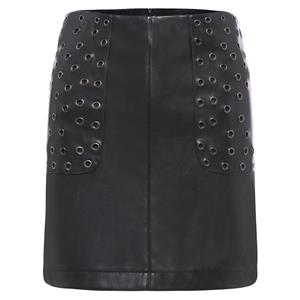 Black PU Skirt, Metal Ring Skirt, Fashion Bodycon Skirt, Women