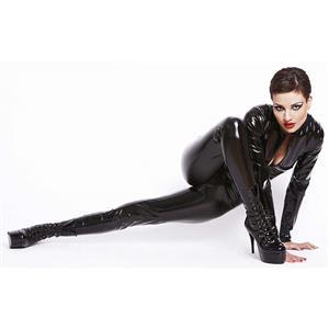 Womens Black Jumpsuit, One-piece Jumpsuit, Cheap Faux Leather Catsuit, Fashion Black Zipper Catsuit, Plus Size Catsuit, #N10994