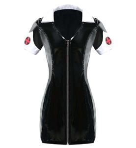 Sexy Black PVC Nurse Costume N10724