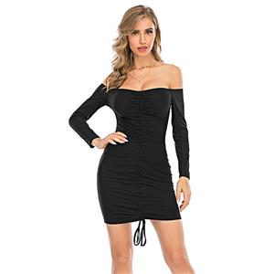 Sexy Dress for Women,Elegant Party Dress,Off The Shoulder Dress,Sexy Dresses for Women Cocktail Party,Long Sleeves High Waist Swing Dress,Black Package Hip Mini Dress, #N20640