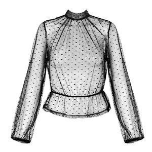 Black Polka Dots Blouse, Gothic Vampire Blouse, Hot Selling Blouse, Sexy Sheer Blouse, Fashion Women