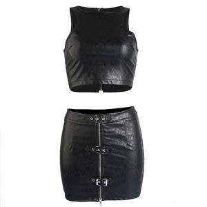 Sexy Crop Top and Mini Skirt Clubwear Set, Women