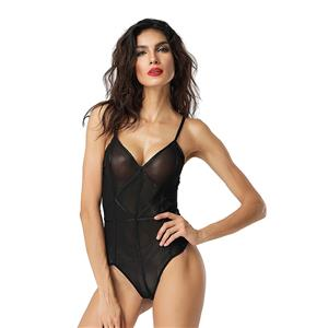 Sleepwear for Women, Sexy Bodysuit, Cheap Romper Lingerie, Strappy Mesh Lingerie, Black Teddy lingerie for women, Teddy Lingerie Cutout,  #N14491