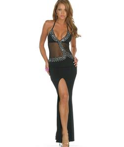 Ladies fashion ball gown prom dress, Sequin Long Dress, Sexy Black Sequin Wedding Dress, #N8247