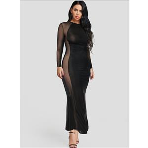 Sexy See-through Long Gown, Cheap Black Clubwear Long Dress, Women
